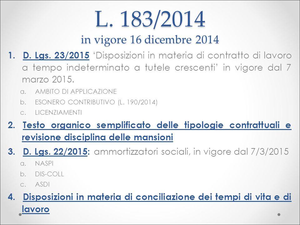 L. 183/2014 in vigore 16 dicembre 2014