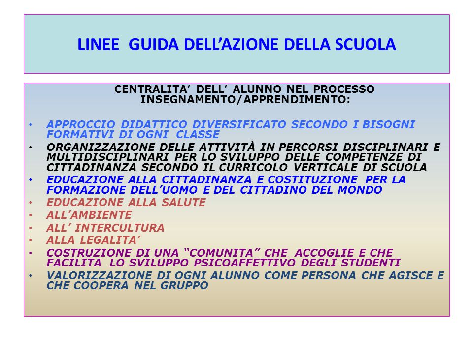 LINEE GUIDA DELL'AZIONE DELLA SCUOLA