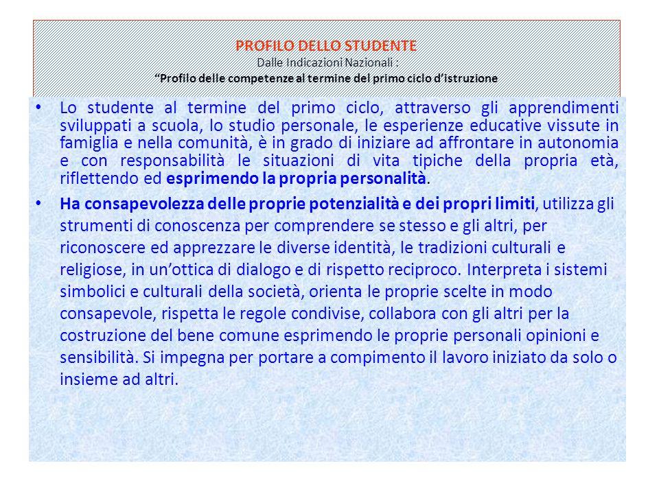 PROFILO DELLO STUDENTE Dalle Indicazioni Nazionali : Profilo delle competenze al termine del primo ciclo d'istruzione