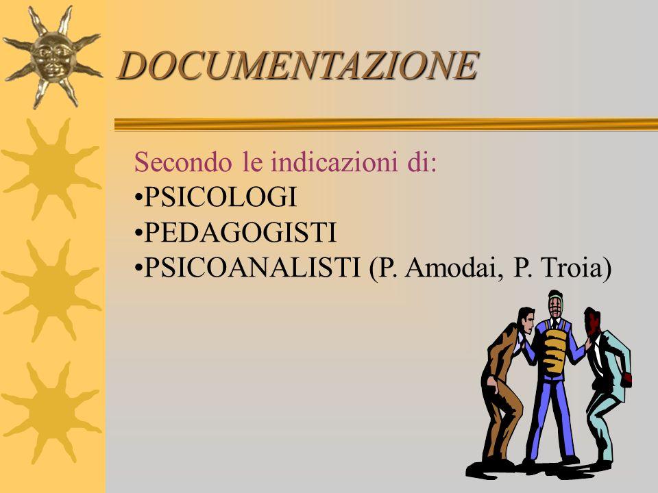 DOCUMENTAZIONE Secondo le indicazioni di: PSICOLOGI PEDAGOGISTI