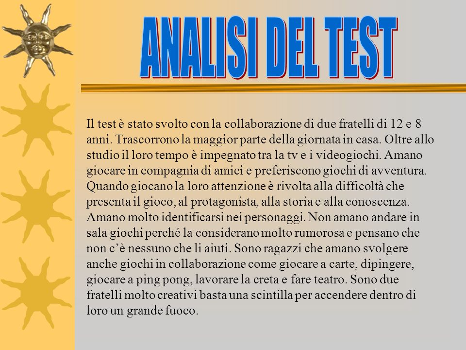ANALISI DEL TEST