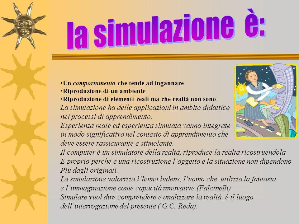 la simulazione è: Un comportamento che tende ad ingannare. Riproduzione di un ambiente. Riproduzione di elementi reali ma che realtà non sono.