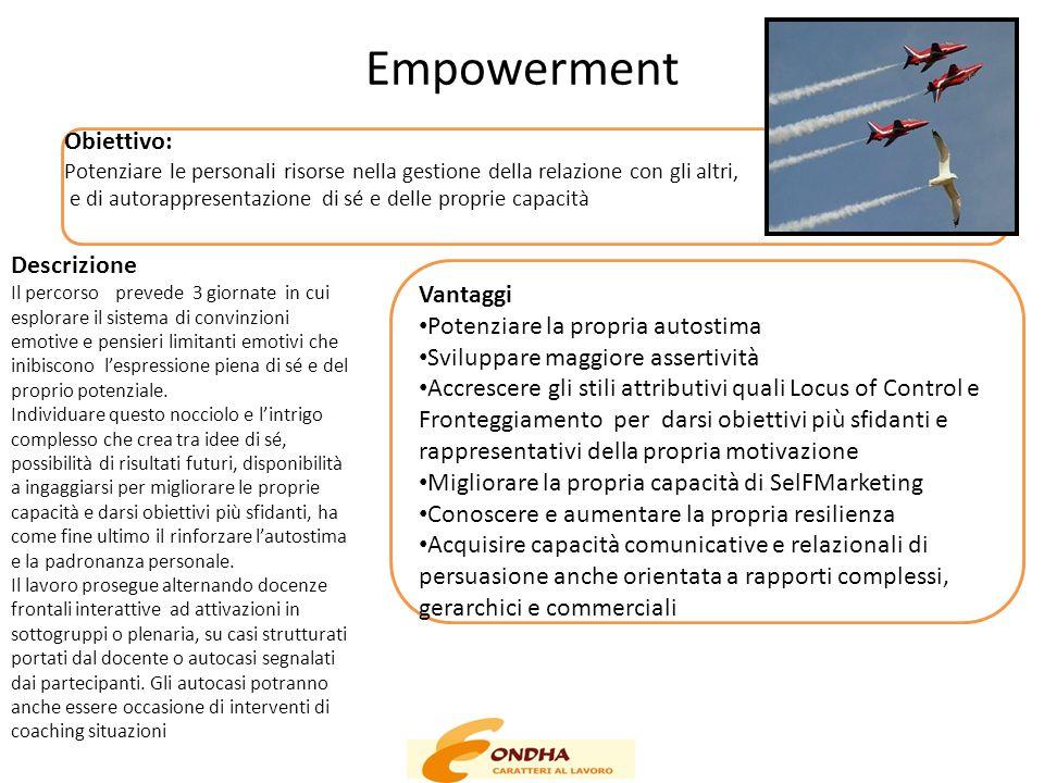 Empowerment Obiettivo: Descrizione Vantaggi