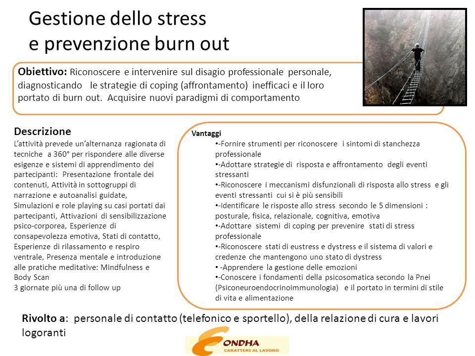 Gestione dello stress e prevenzione burn out