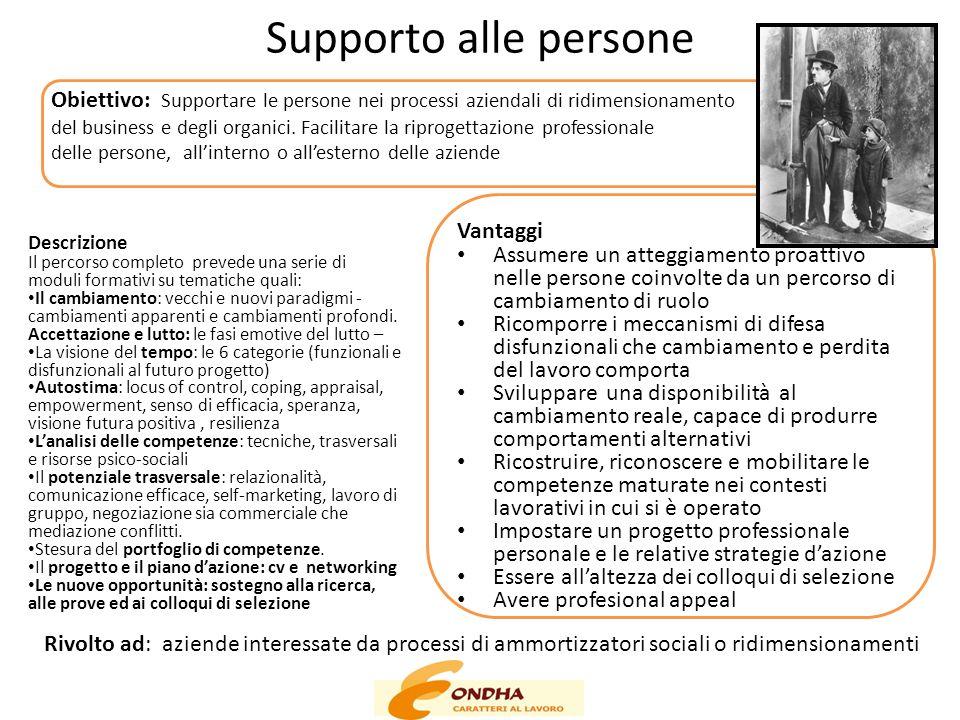 Supporto alle persone Obiettivo: Supportare le persone nei processi aziendali di ridimensionamento.
