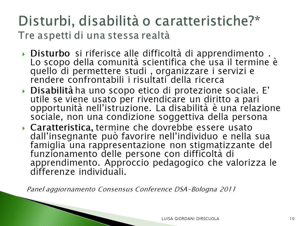 Disturbi, disabilità o caratteristiche