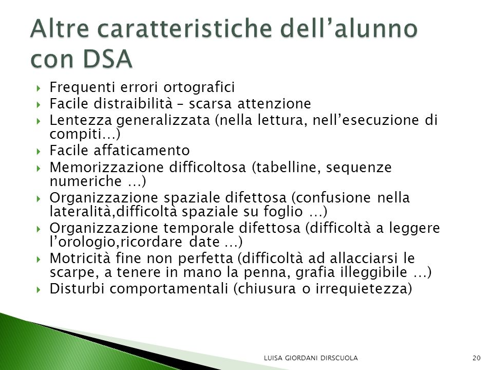 Altre caratteristiche dell'alunno con DSA