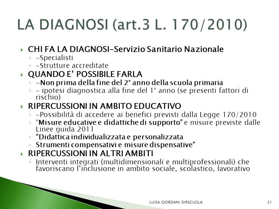 LA DIAGNOSI (art.3 L. 170/2010) CHI FA LA DIAGNOSI-Servizio Sanitario Nazionale. -Specialisti. -Strutture accreditate.
