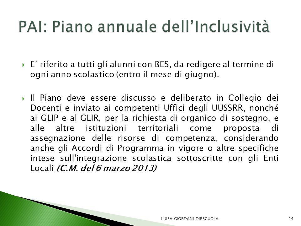 PAI: Piano annuale dell'Inclusività