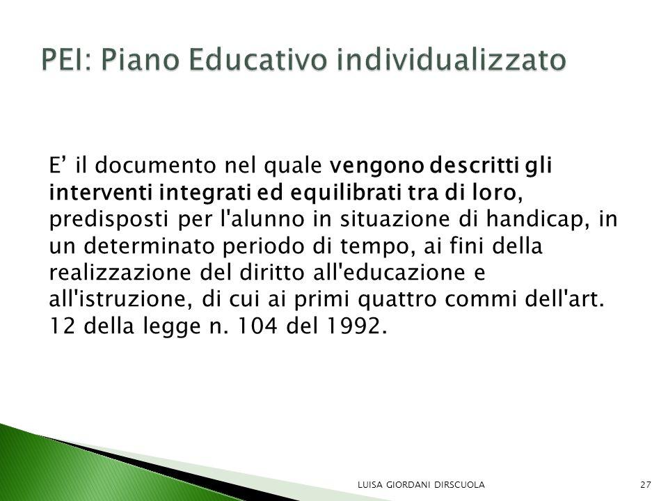 PEI: Piano Educativo individualizzato