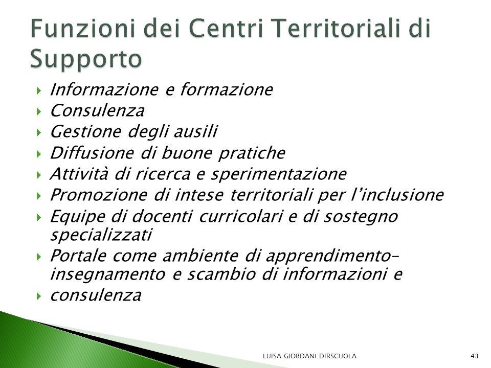 Funzioni dei Centri Territoriali di Supporto