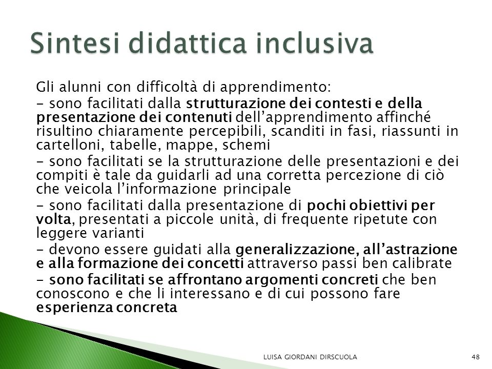 Sintesi didattica inclusiva