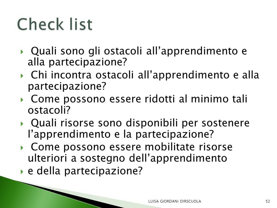 Check list Quali sono gli ostacoli all'apprendimento e alla partecipazione Chi incontra ostacoli all'apprendimento e alla partecipazione