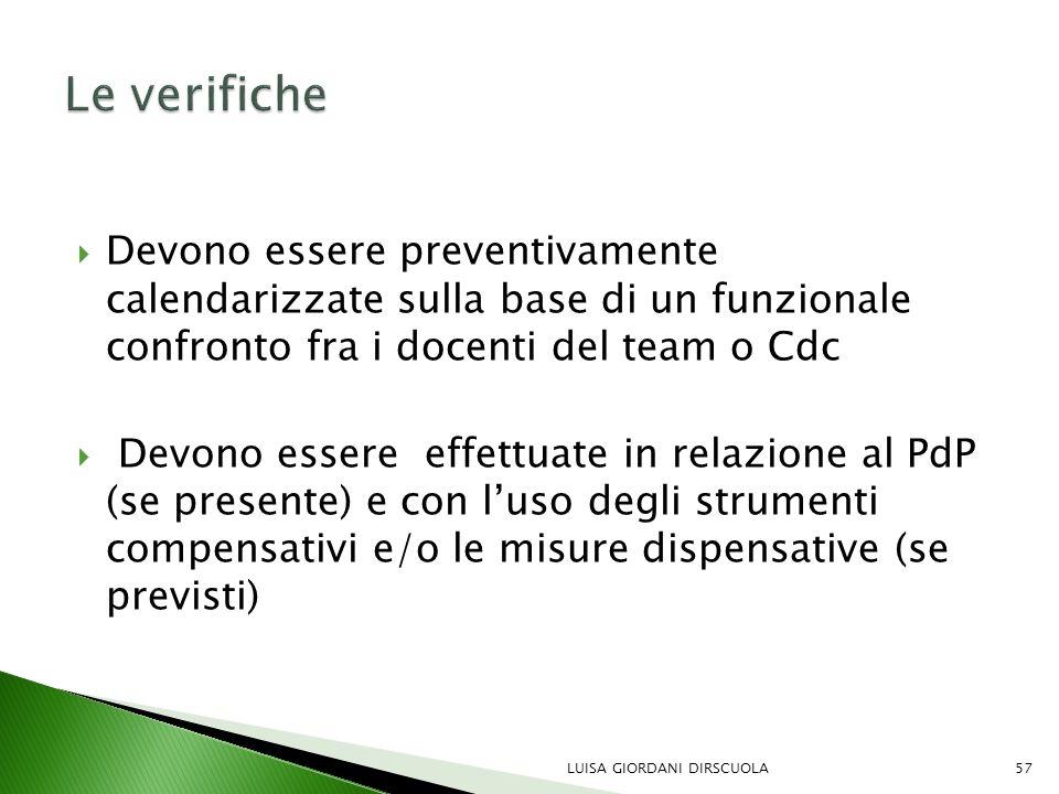 Le verifiche Devono essere preventivamente calendarizzate sulla base di un funzionale confronto fra i docenti del team o Cdc.