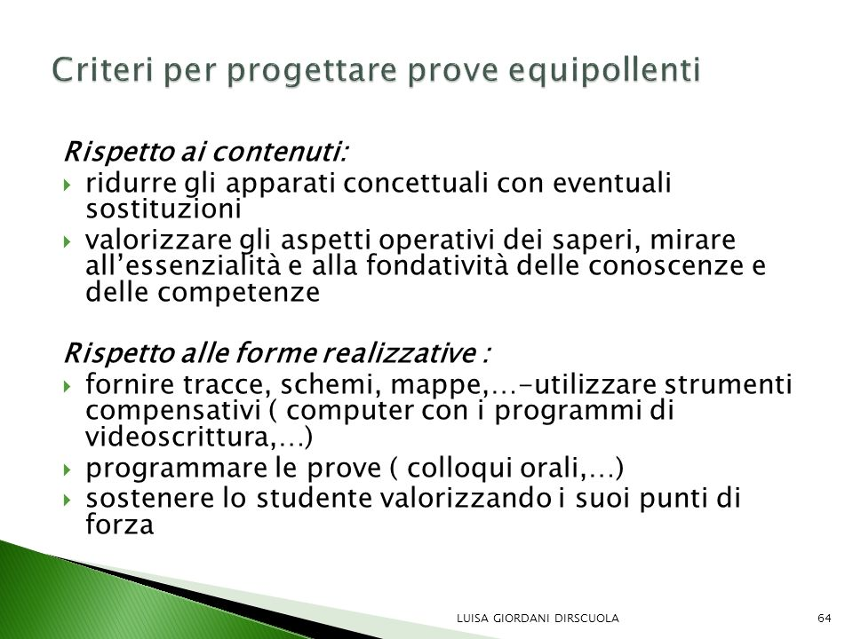 Criteri per progettare prove equipollenti