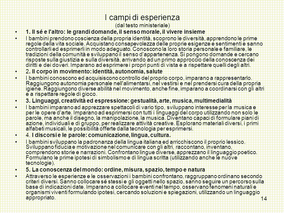 I campi di esperienza (dal testo ministeriale)