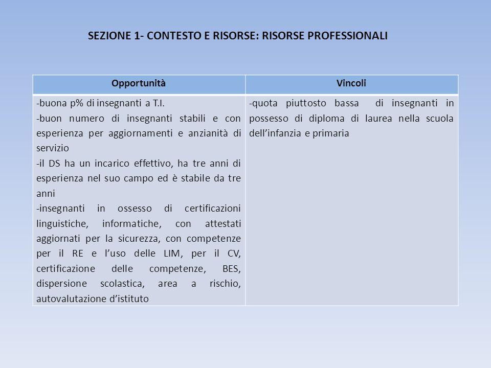 SEZIONE 1- CONTESTO E RISORSE: RISORSE PROFESSIONALI