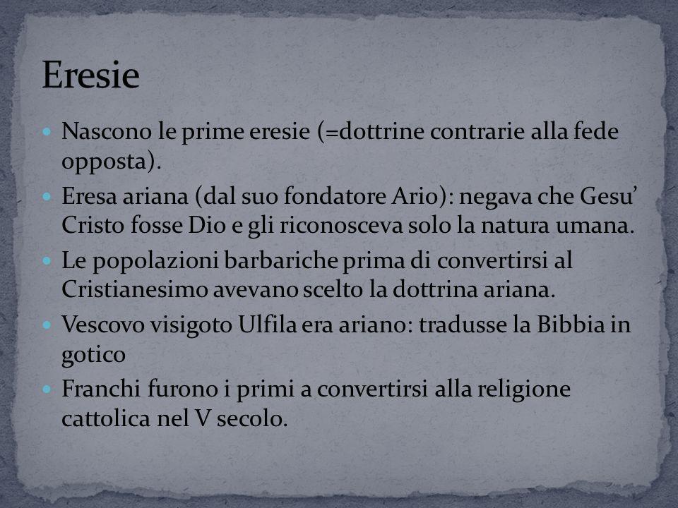 Eresie Nascono le prime eresie (=dottrine contrarie alla fede opposta).