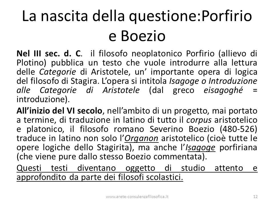 La nascita della questione:Porfirio e Boezio