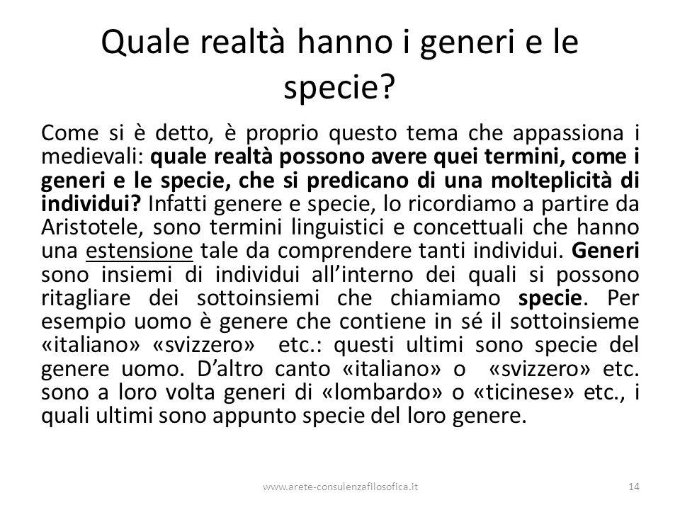Quale realtà hanno i generi e le specie