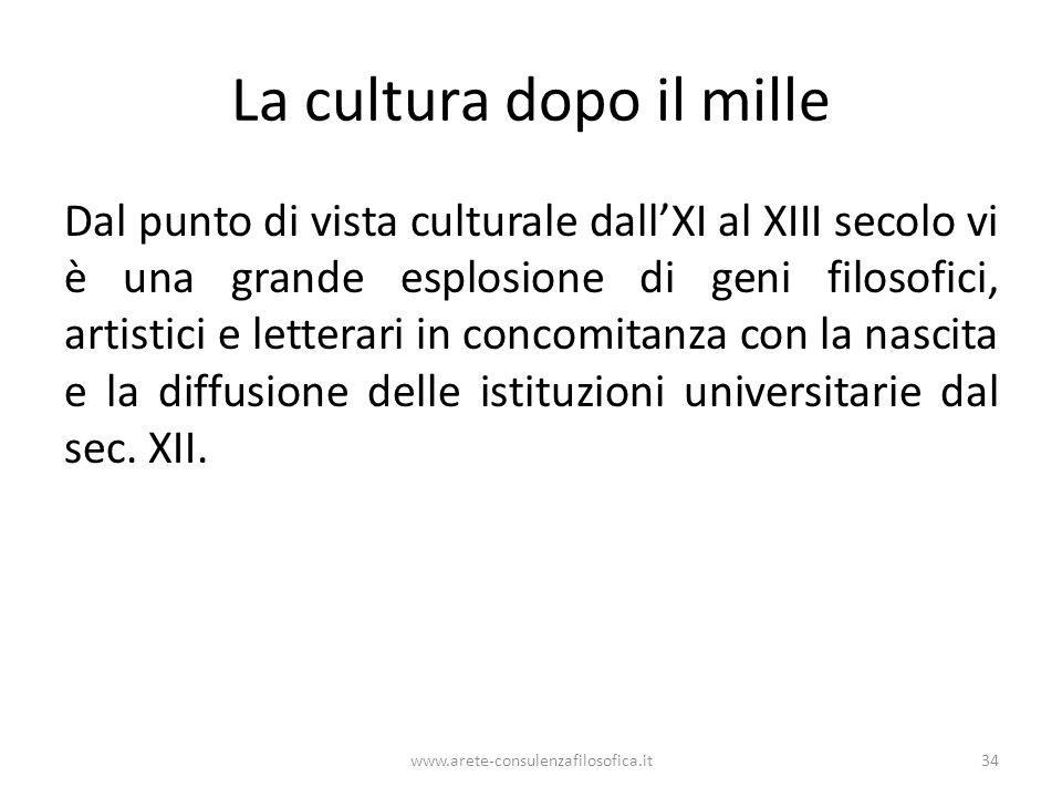 La cultura dopo il mille