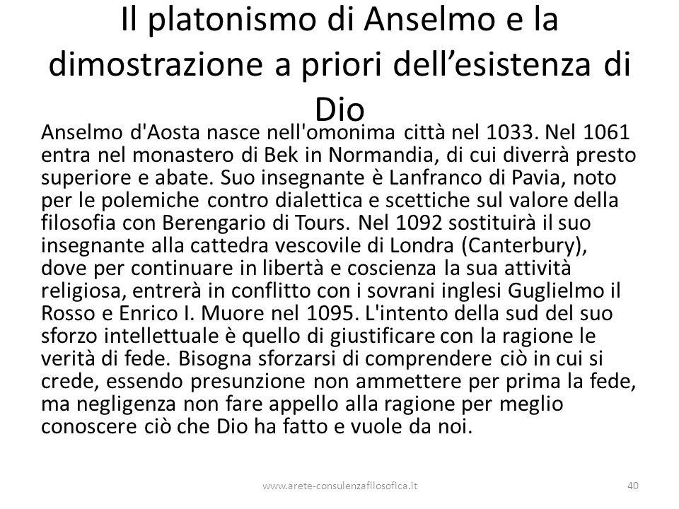 Il platonismo di Anselmo e la dimostrazione a priori dell'esistenza di Dio