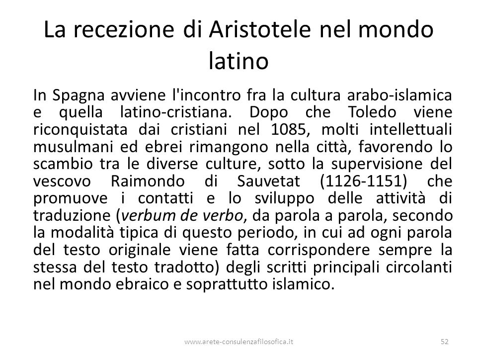 La recezione di Aristotele nel mondo latino