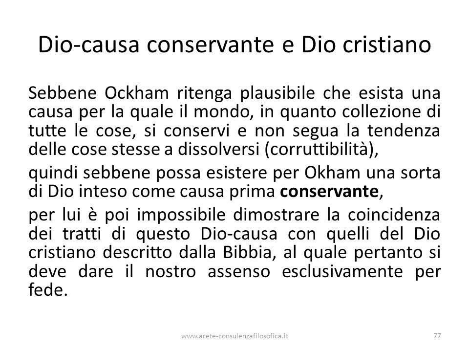 Dio-causa conservante e Dio cristiano