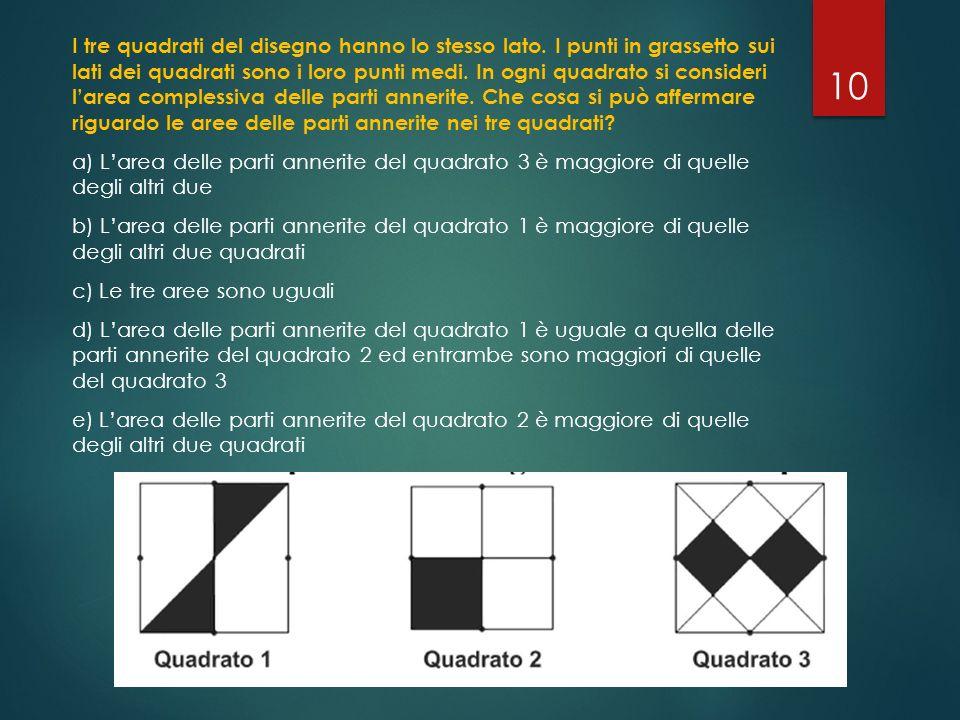 I tre quadrati del disegno hanno lo stesso lato