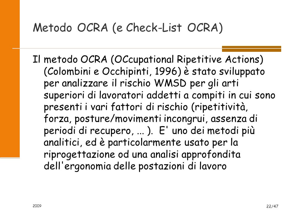 Metodo OCRA (e Check-List OCRA)