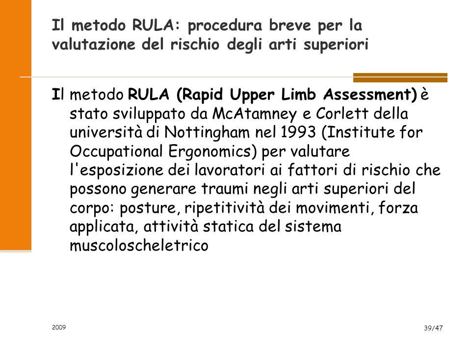 Il metodo RULA: procedura breve per la valutazione del rischio degli arti superiori