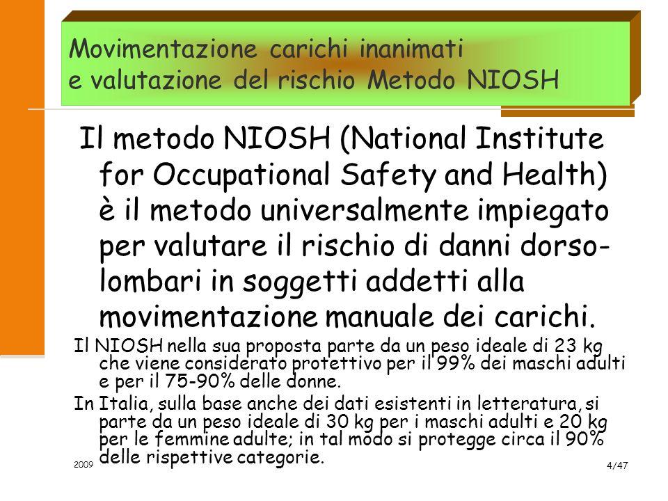 Movimentazione carichi inanimati e valutazione del rischio Metodo NIOSH