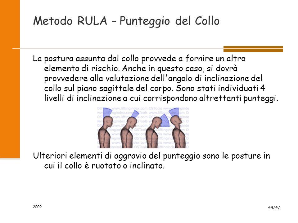 Metodo RULA - Punteggio del Collo