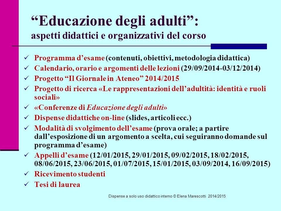 Educazione degli adulti : aspetti didattici e organizzativi del corso