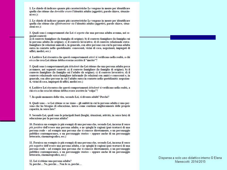 Dispense a solo uso didattico interno © Elena Marescotti 2014/2015