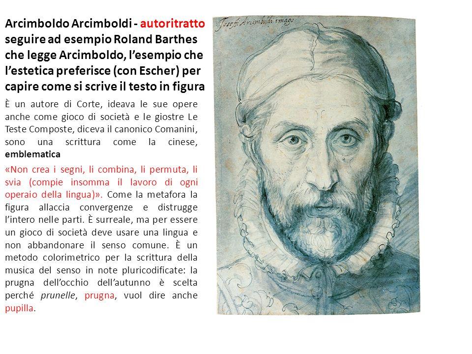 Arcimboldo Arcimboldi - autoritratto seguire ad esempio Roland Barthes che legge Arcimboldo, l'esempio che l'estetica preferisce (con Escher) per capire come si scrive il testo in figura