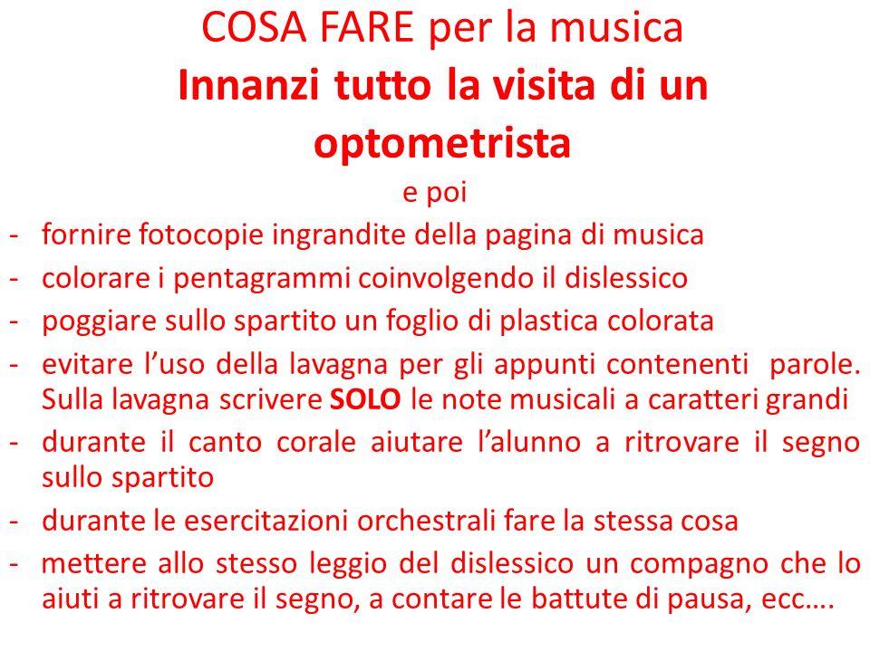 COSA FARE per la musica Innanzi tutto la visita di un optometrista