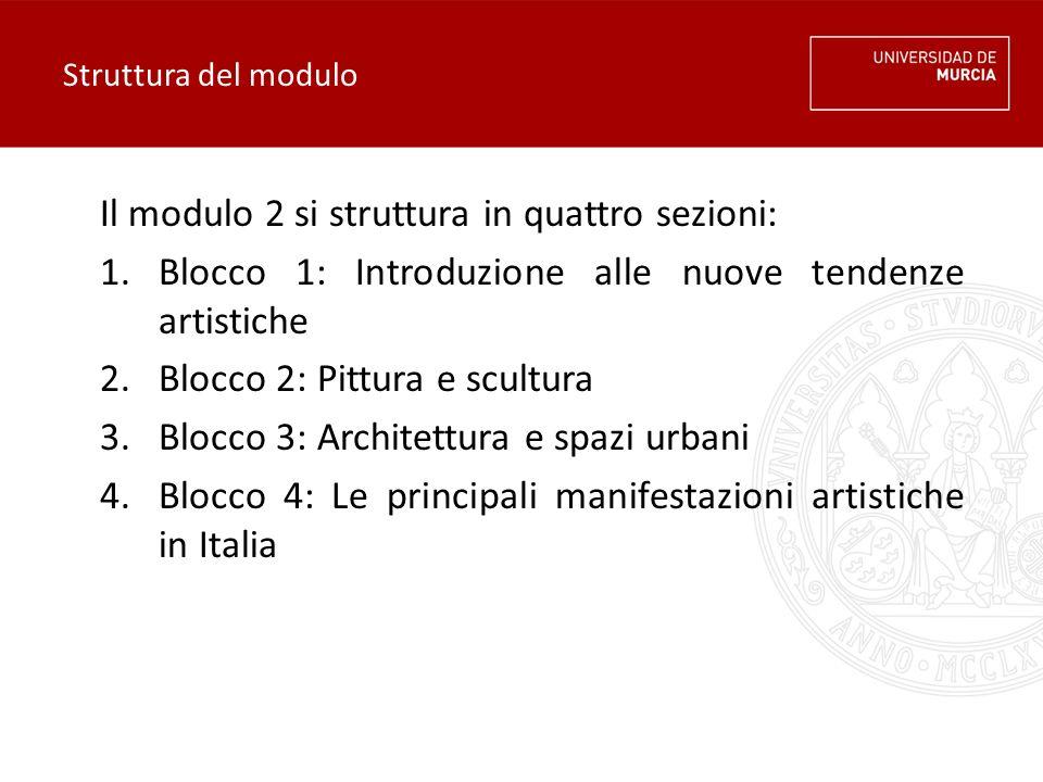 Il modulo 2 si struttura in quattro sezioni: