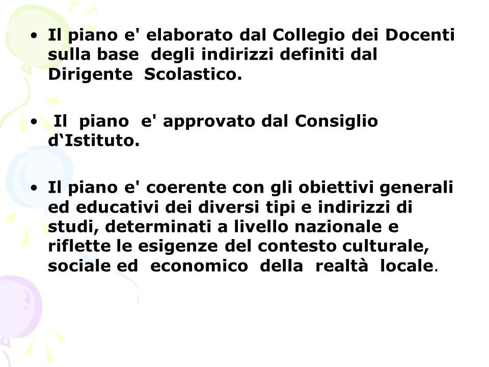 Il piano e elaborato dal Collegio dei Docenti sulla base degli indirizzi definiti dal Dirigente Scolastico.