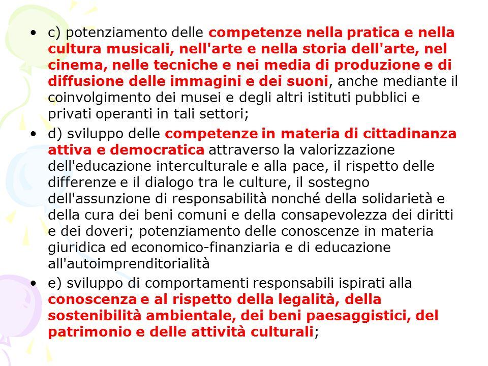 c) potenziamento delle competenze nella pratica e nella cultura musicali, nell arte e nella storia dell arte, nel cinema, nelle tecniche e nei media di produzione e di diffusione delle immagini e dei suoni, anche mediante il coinvolgimento dei musei e degli altri istituti pubblici e privati operanti in tali settori;