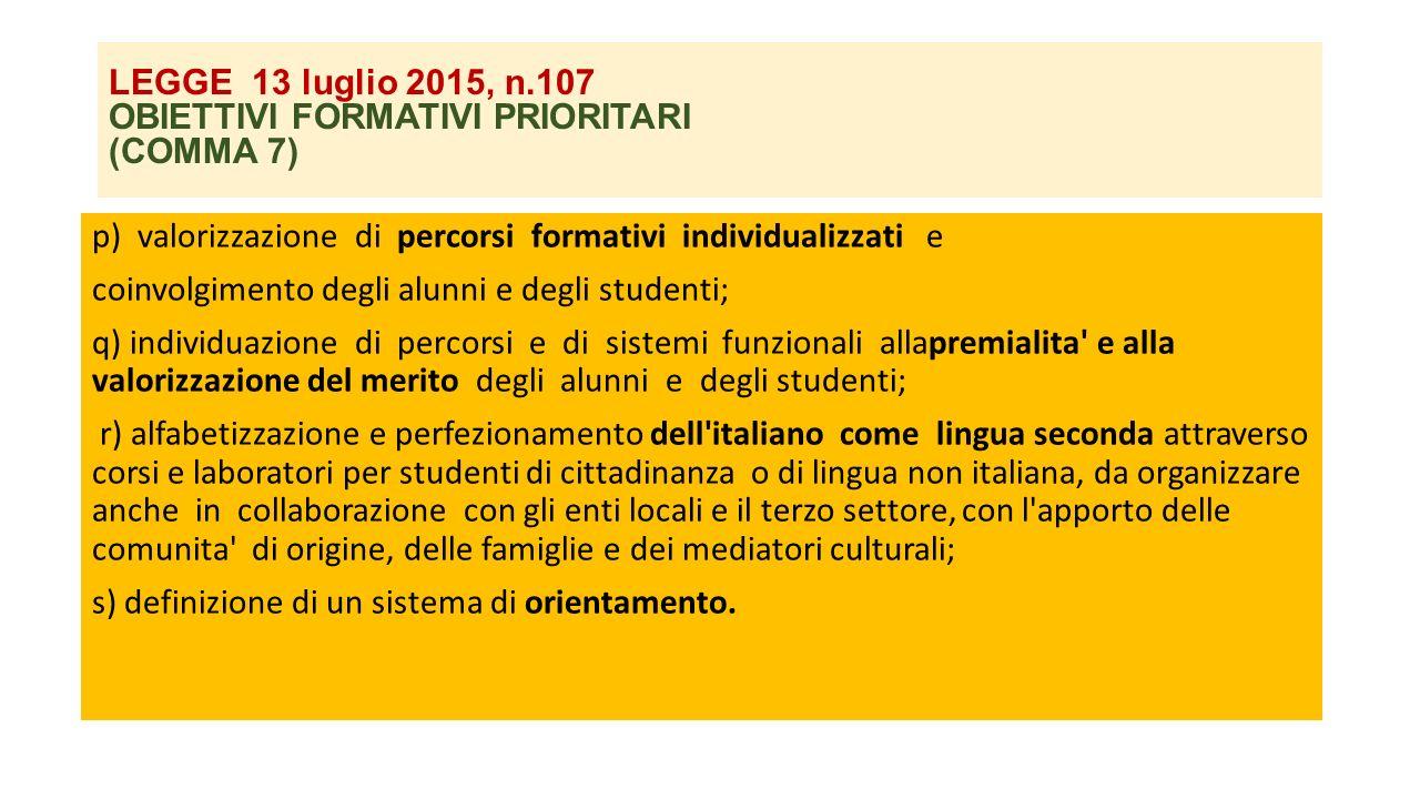 LEGGE 13 luglio 2015, n.107 OBIETTIVI FORMATIVI PRIORITARI (COMMA 7)