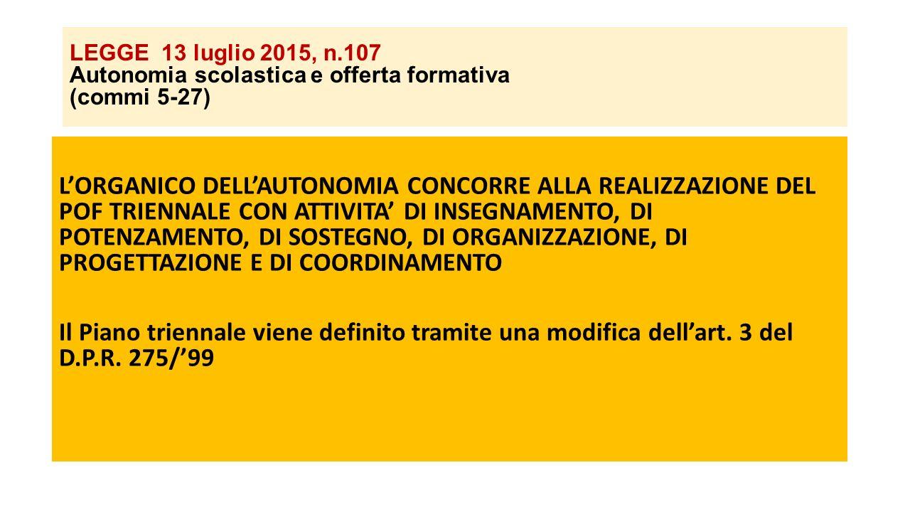 LEGGE 13 luglio 2015, n.107 Autonomia scolastica e offerta formativa (commi 5-27)