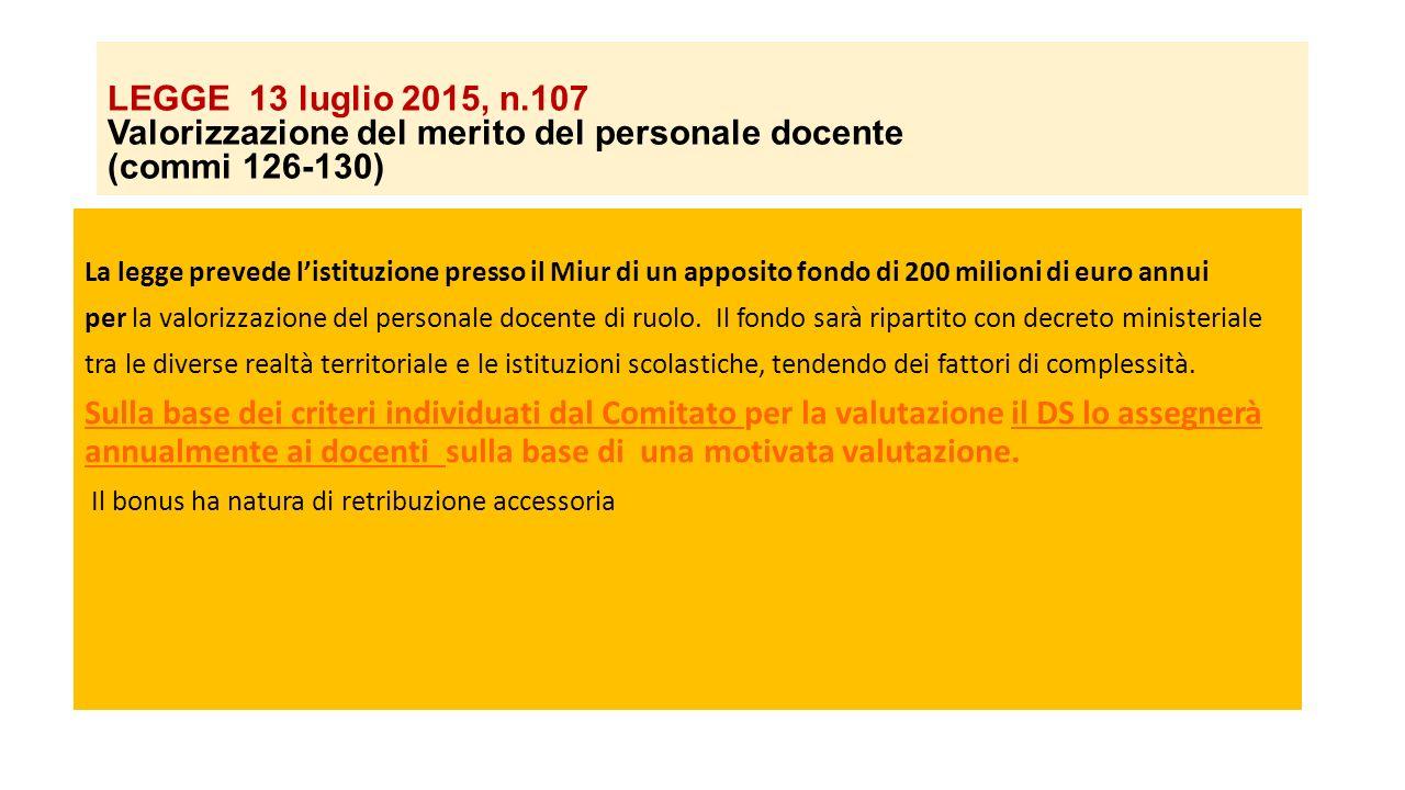 LEGGE 13 luglio 2015, n.107 Valorizzazione del merito del personale docente (commi 126-130)