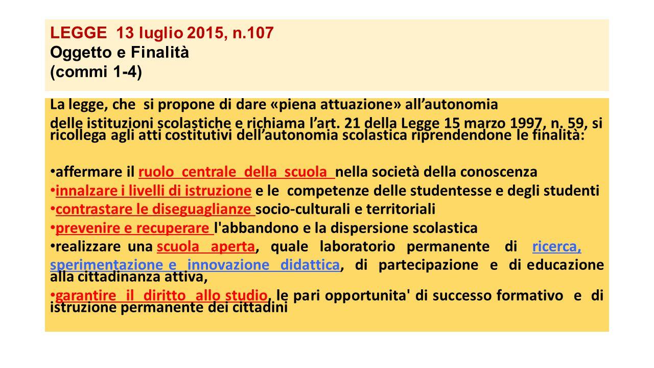 LEGGE 13 luglio 2015, n.107 Oggetto e Finalità (commi 1-4)