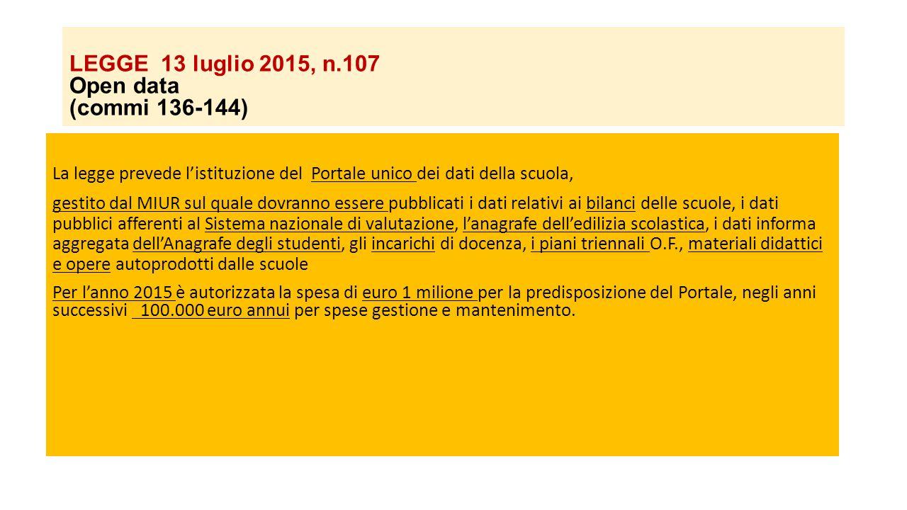 LEGGE 13 luglio 2015, n.107 Open data (commi 136-144)