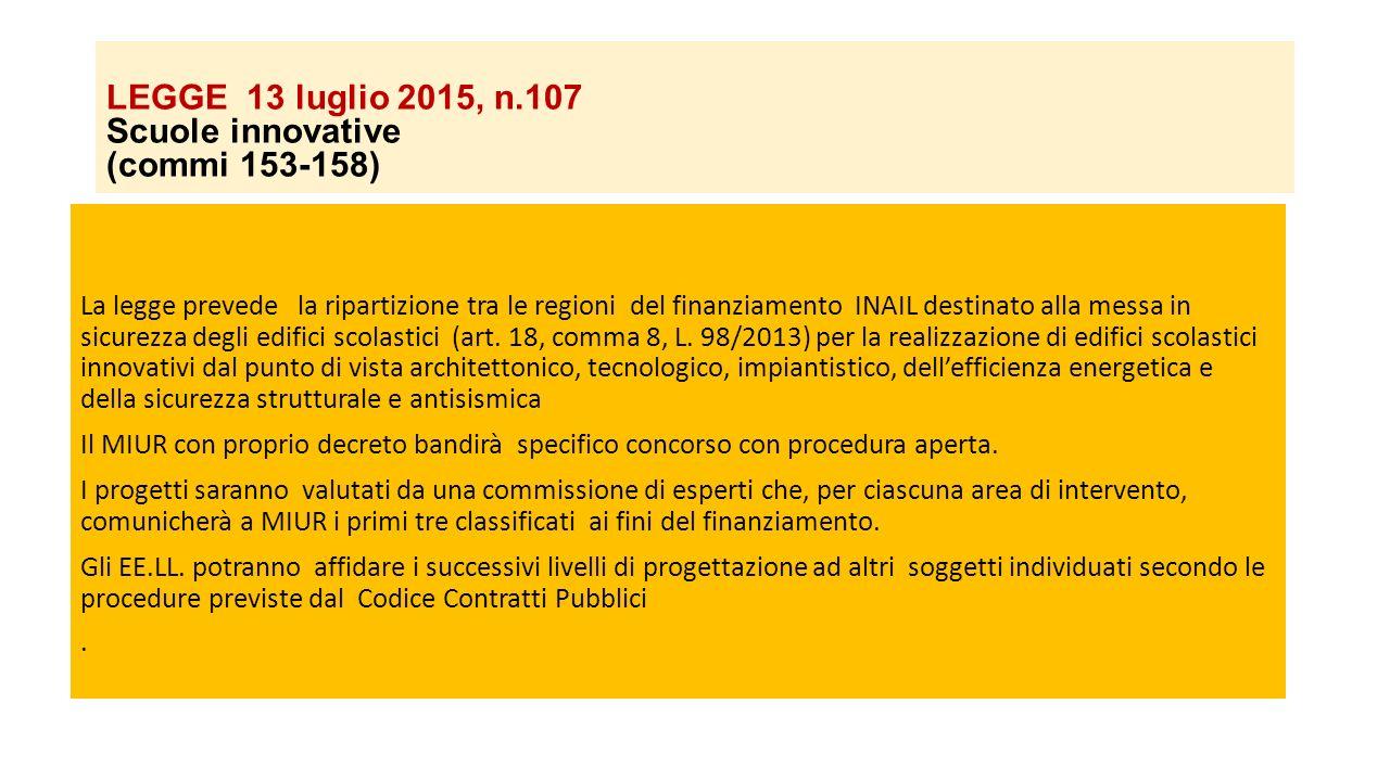 LEGGE 13 luglio 2015, n.107 Scuole innovative (commi 153-158)