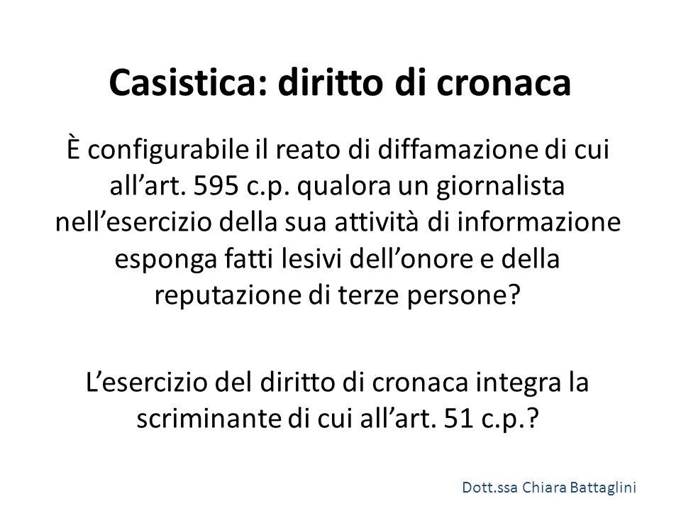 Casistica: diritto di cronaca