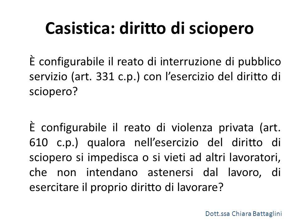 Casistica: diritto di sciopero