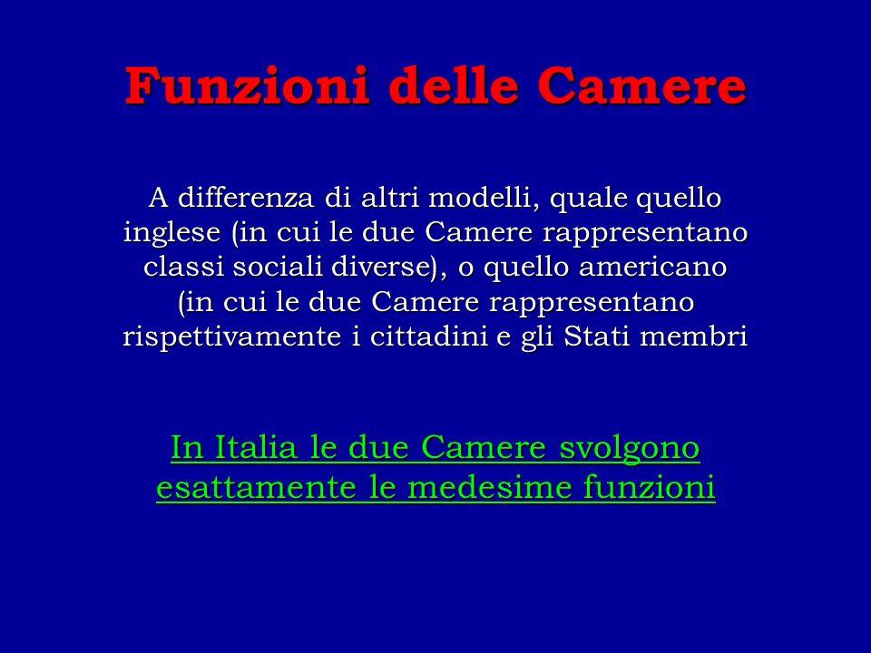 In Italia le due Camere svolgono esattamente le medesime funzioni