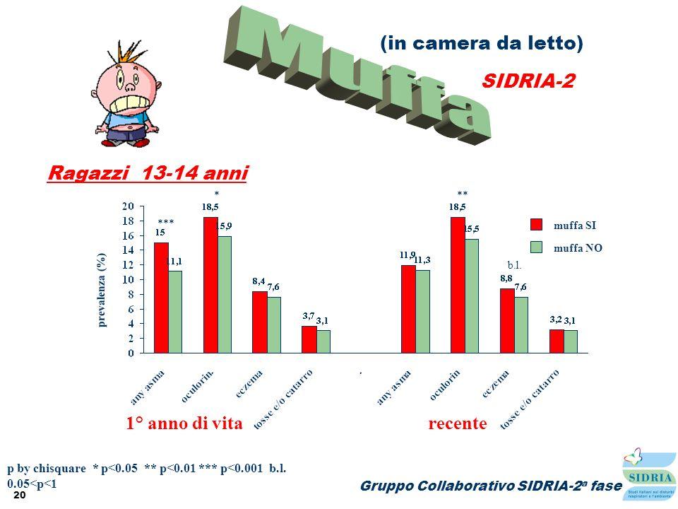 Muffa (in camera da letto) SIDRIA-2 Ragazzi 13-14 anni 1° anno di vita
